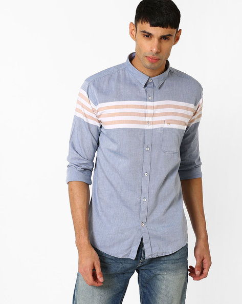 Slim Fit Placid Weft Striped Shirt By BASICS ( Blue )