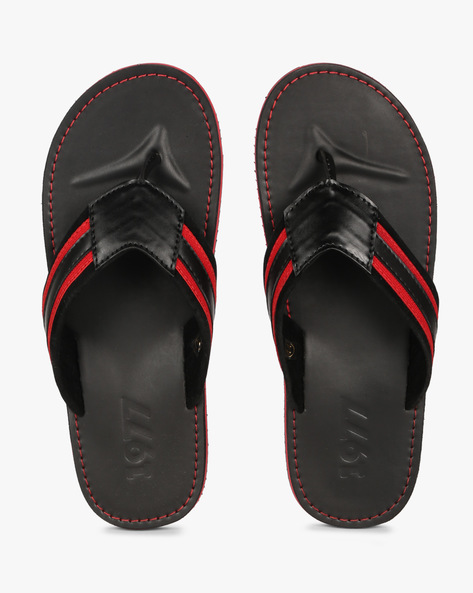 Flip-Flops With Striped Strap By Estd.1977 ( Black )