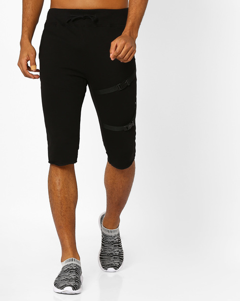 Jogger Shorts With Buckle Detail By KULTPRIT ( Black )