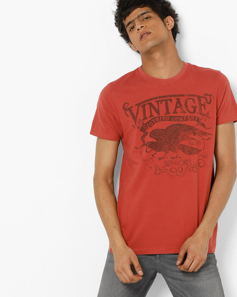 Slim Fit Printed Crew-Neck T-shirt By Jack & Jones ( Red )
