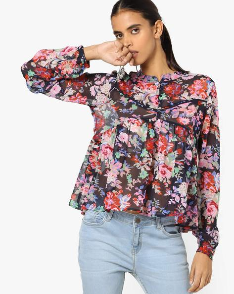 Pleated Floral Print Top With Mandarin Collar By AJIO ( Navy )