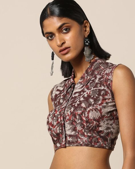 Handblock Print Cotton Sleeveless Shirt Collar Blouse By Molcha ( Multi )