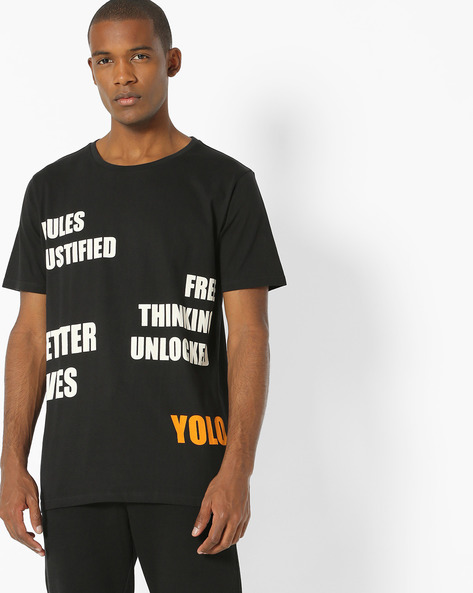 Typographic Print T-shirt By ADAMO LONDON ( Black )