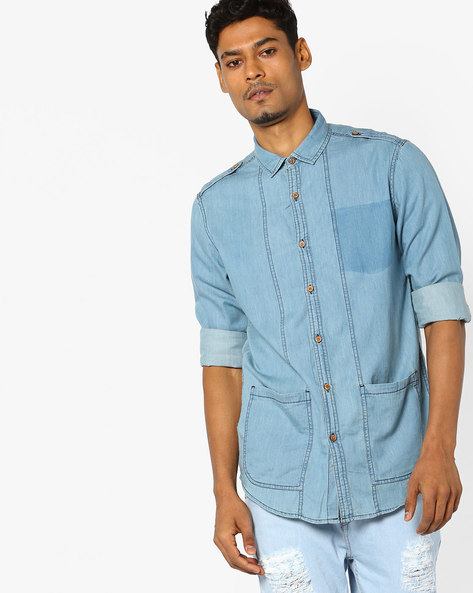 Panelled Denim Shirt With Patch Pockets By AJIO ( Blue )