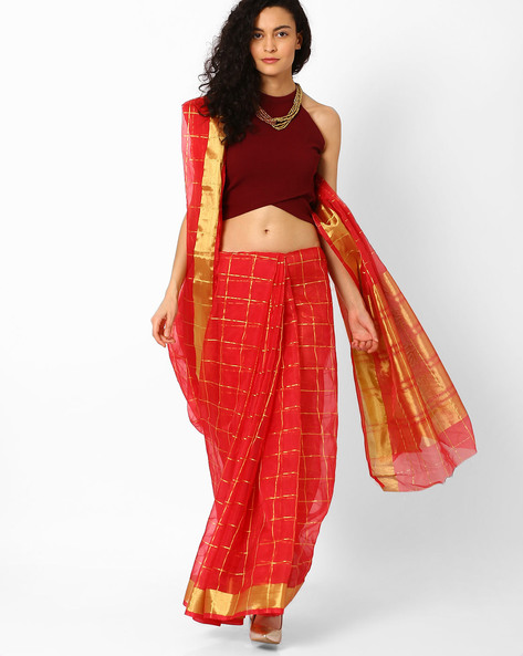 Checked Saree With Contrast Border By Pihu ( Pink )