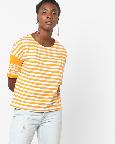 Striped Knit T-shirt With Drop-Shoulder Sleeves By AJIO ( Mustard )