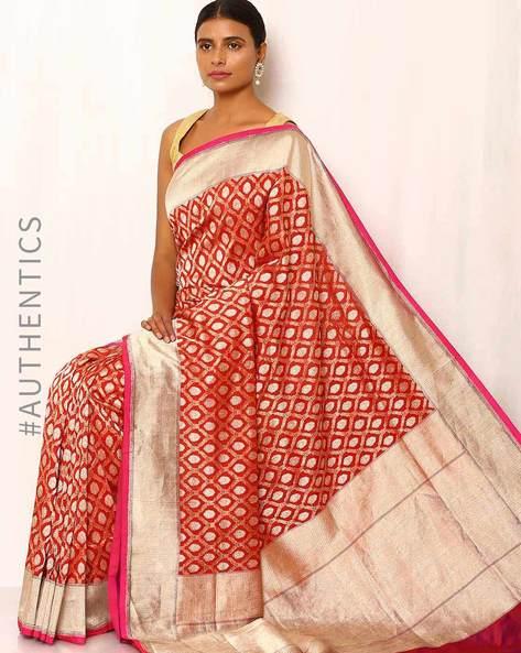 Banarasi Pure Silk Katan Jangla Saree By Indie Picks ( Red )