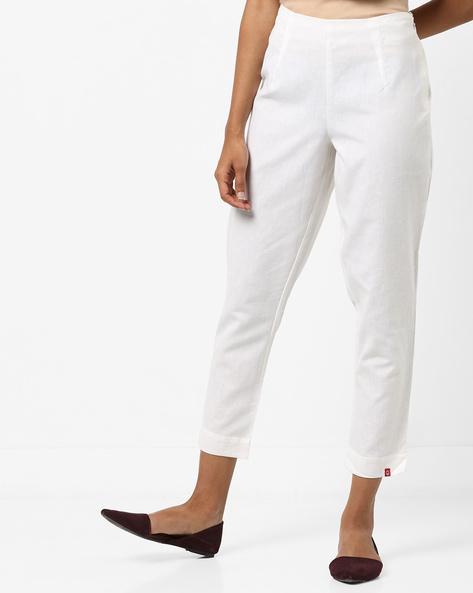 Single-Pleat Mid-Rise Slim Pants By Biba ( White )