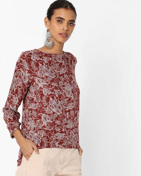 Printed High-Low Top By Vero Moda ( Brown )