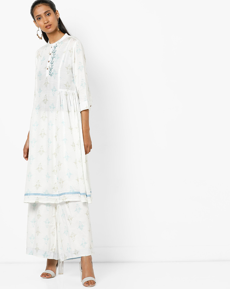 Printed Flared Kurta With Mandarin Collar By AJIO ( Offwhite )