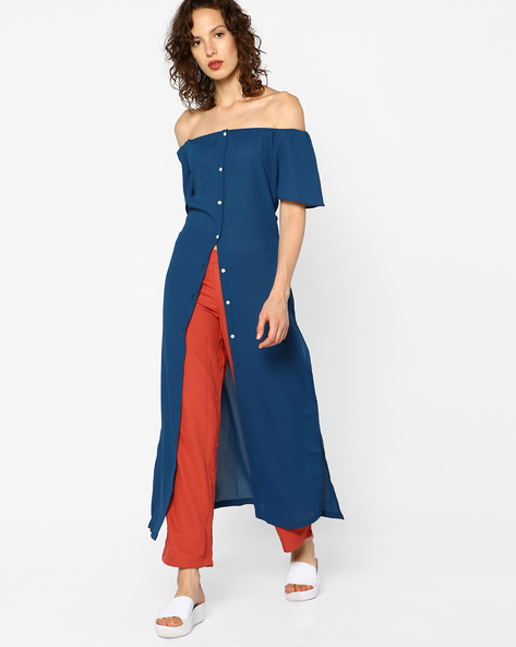 Off-Shoulder Maxi Top By RIDRESS ( Blue )