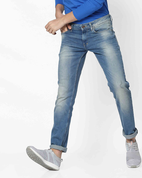 Lightly Washed Slim Fit Jeans By Celio ( Blue ) - 460183268001