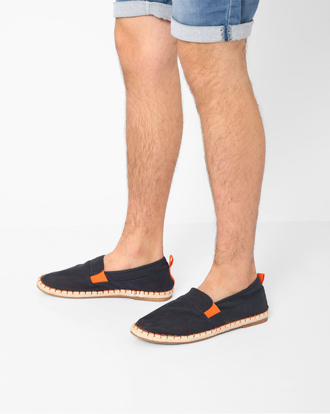Perforated Espadrilles With Contrast Gussets By AJIO ( Navy )