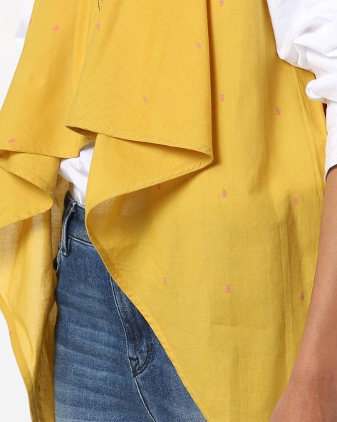 Colourblock Printed Open-Front Shrug By AJIO ( Mustard )