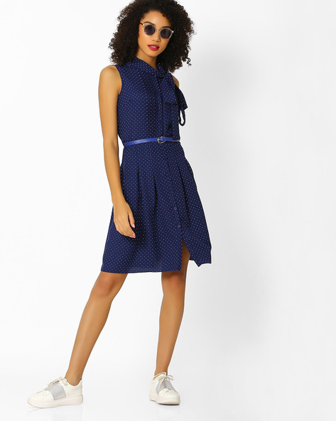 Printed A-line Dress With Tie-Up Neckline By FIG ( Navy )