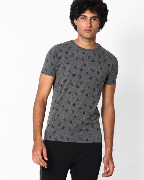 Graphic Print Slim Fit T-shirt By The Indian Garage Co ( Darkgrey )
