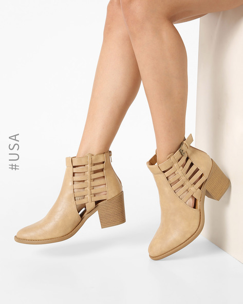 Chunky-Heeled Boots By QUPID ( Beige )