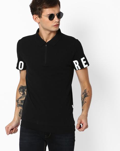 Polo T-shirt With Zip Neckline By Jack & Jones ( Black )