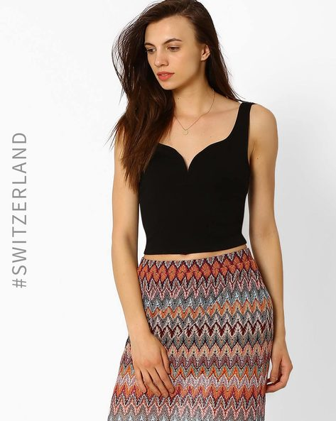 Crop Top With Sweetheart Neckline By TALLY WEiJL ( Black )