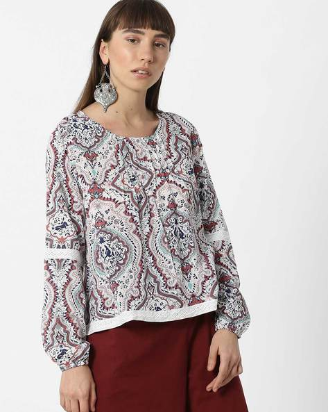 Printed Cotton Top With Lace Trim By FIG ( Orange )