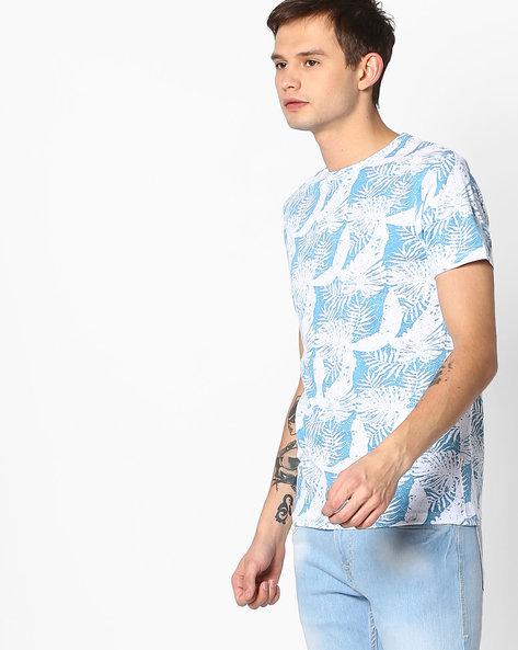 All-Over Print Crew-Neck T-shirt By Jack & Jones ( Blue )