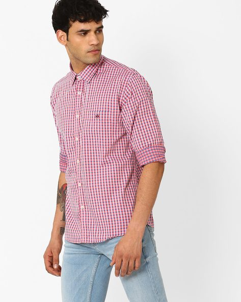 Slim Fit Checked Shirt With Patch Pocket By CRIMSOUNE CLUB ( Pink )