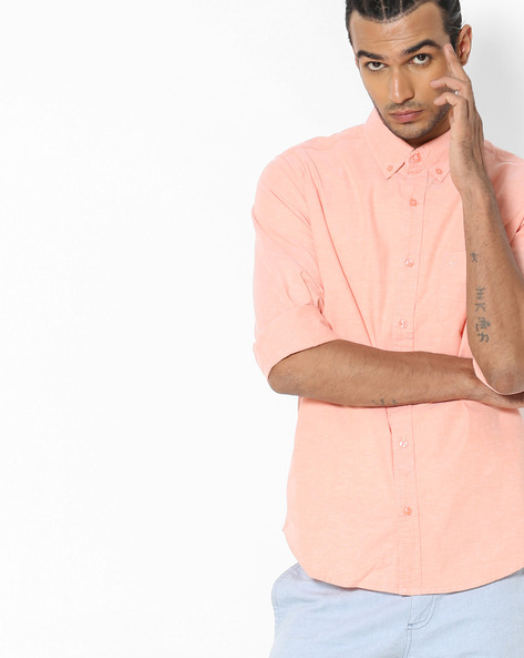 Textured Shirt With Button-Down Collar By UNITED COLORS OF BENETTON ( Orange )