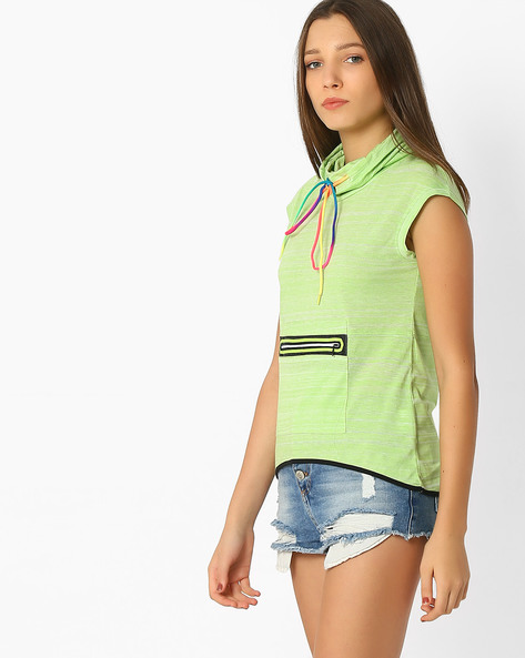 Hooded Sleeveless T-shirt By TEAM SPIRIT ( Ltgreen )