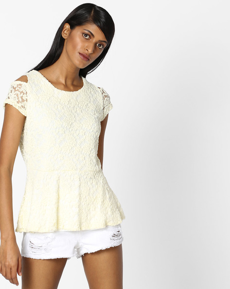 Lace Peplum Top By KRAUS ( Offwhite )