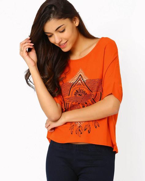 Printed Top By Akkriti By Pantaloons ( Orange )