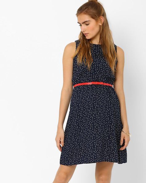 Polka Print Sleeveless Dress With Belt By CHM ( Blue )