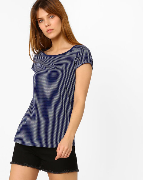 Striped Cotton Top By Fame Forever By Lifestyle ( Navy )