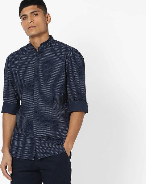 Geometric Print Cotton Shirt By Celio ( Blue )
