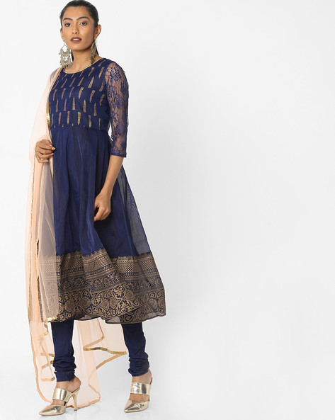 Anarkali Churidar Kurta With Dupatta By Trishaa By Pantaloons ( Blue )