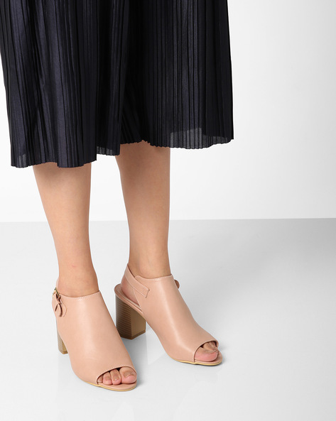 Chunky Heels With Buckle Closure By AJIO ( Nude )