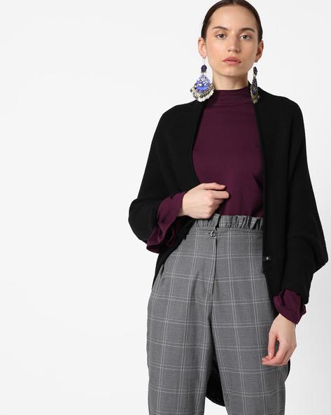 Asymmetrical Cardigan With Batwing Sleeves By SATVA ( Black )