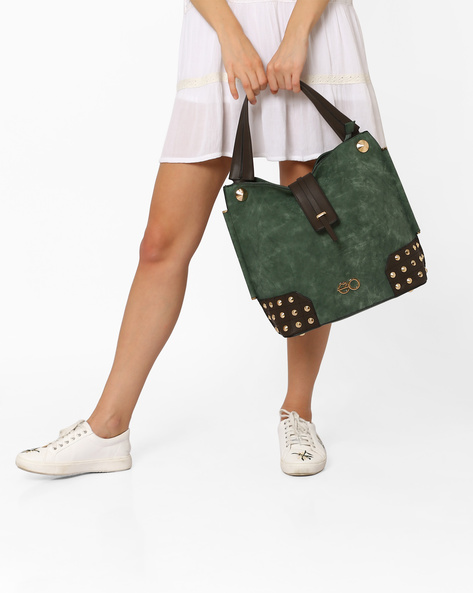 Studded Hobo Bag By E2O ( Green )