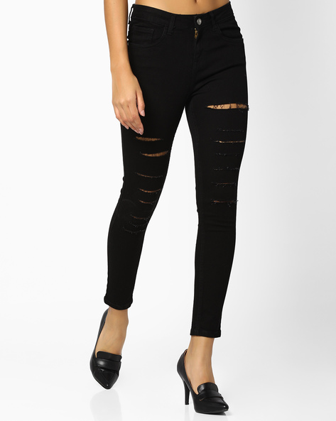 Heavily Distressed Cropped Jeans By AJIO ( Black )