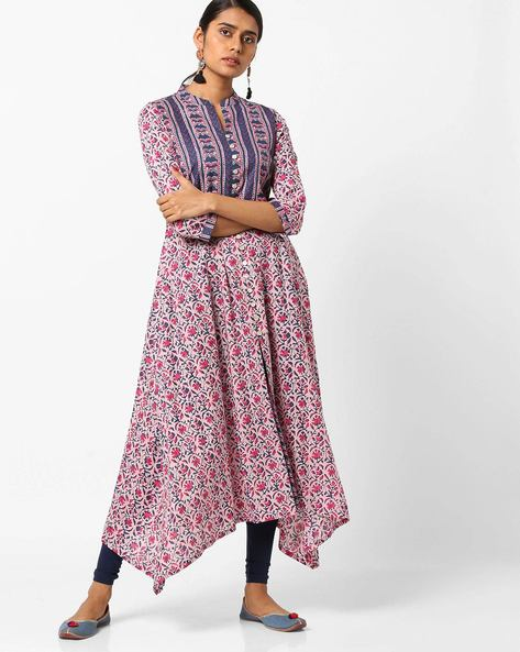 Floral Print A-line Kurta With Asymmetric Hem By AJIO ( Pink )