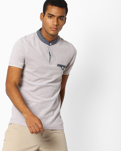 Slim Fit T-shirt With Mandarin Collar By Celio ( Beige )