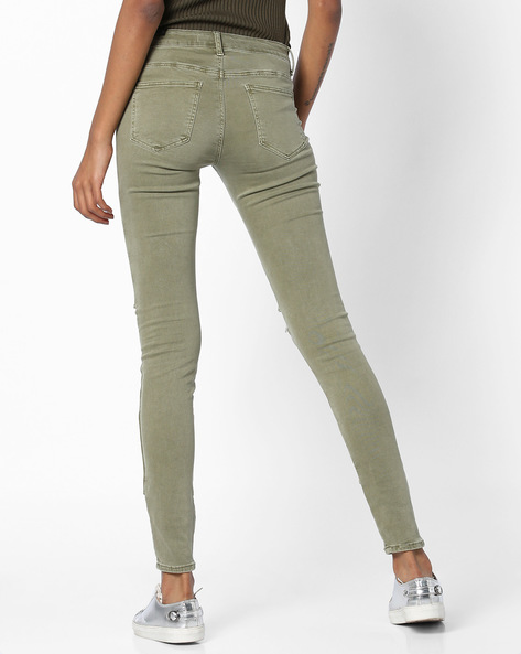 Skinny Pants With Lace-Up Detail By TALLY WEiJL ( Green )