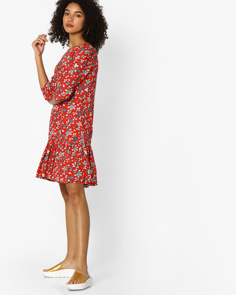 Floral Print Flounce Dress With Sequins By AJIO ( Maroon )