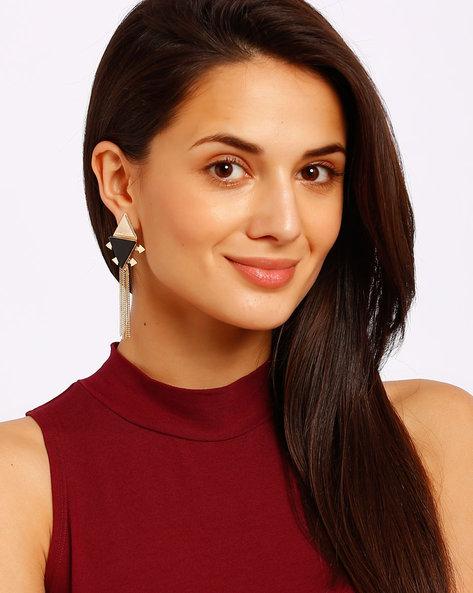 Gold-Plated Drop-Earrings By Ssoul ( Black ) - 460008514003