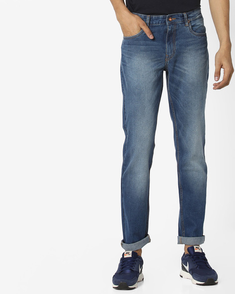 Lightly Washed Slim Fit Jeans By AJIO ( Blue ) - 460130557001