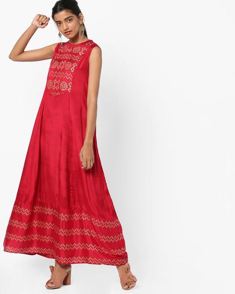 Printed A-line Dress By Akkriti By Pantaloons ( Maroon )