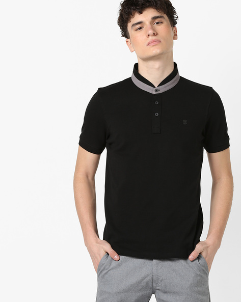 Polo T-shirt With Contrast Collar By WRANGLER ( Black )