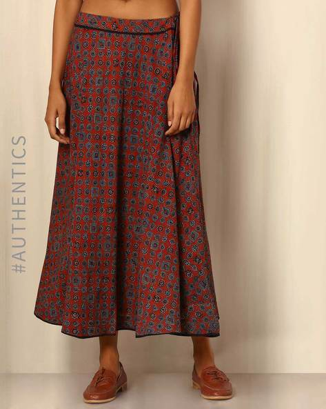 Handblock Print Cotton Maxi Skirt By DRAP ( Multi )