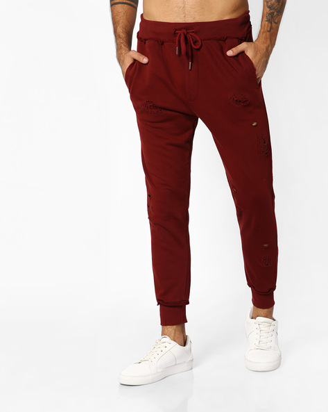 Distressed Joggers With Drawstring Fastening By ADAMO LONDON ( Maroon )