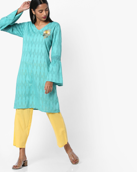 Printed Tunic With Bell Sleeves By AJIO ( Teal )