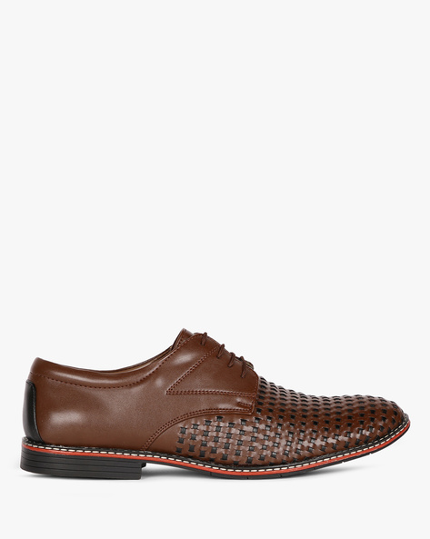 Basket-Weave Lace-Up Casual Shoes By ESCARO ( Brown )